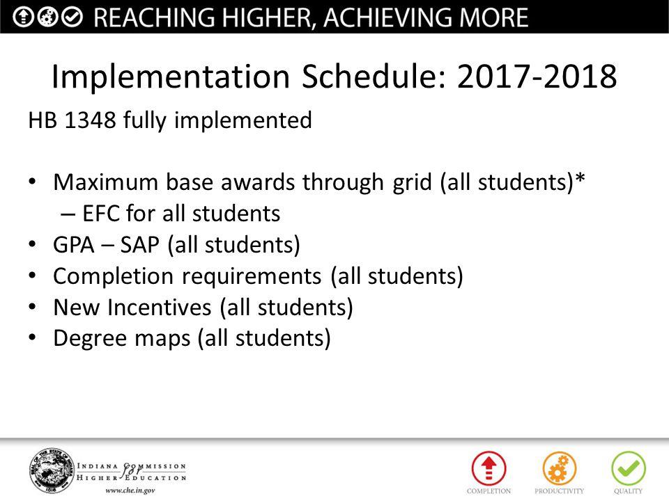 Implementation Schedule: 2017-2018