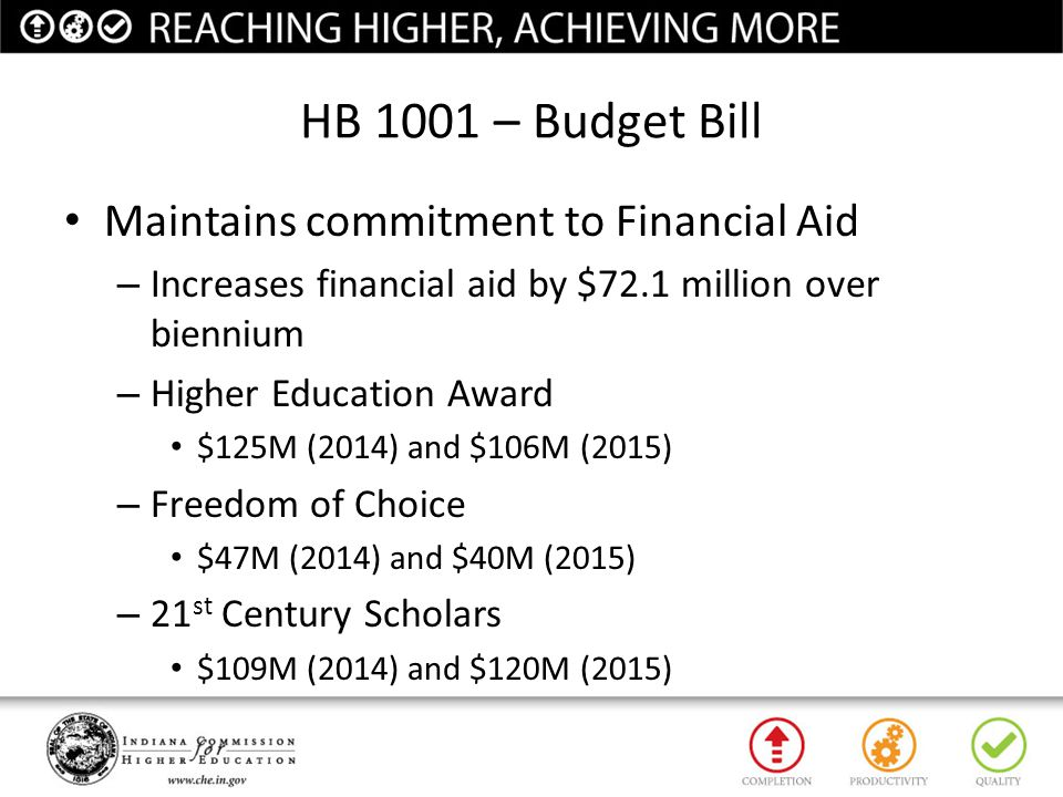 HB 1001 – Budget Bill Maintains commitment to Financial Aid