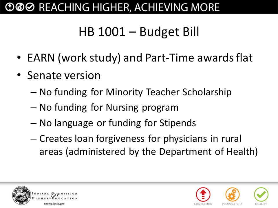 HB 1001 – Budget Bill EARN (work study) and Part-Time awards flat