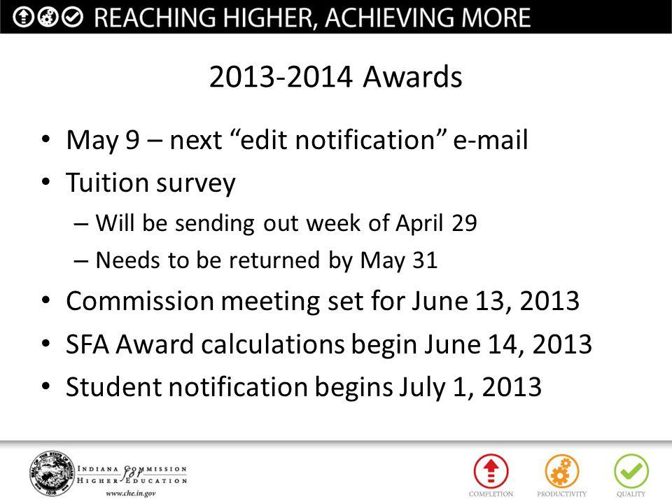 2013-2014 Awards May 9 – next edit notification e-mail