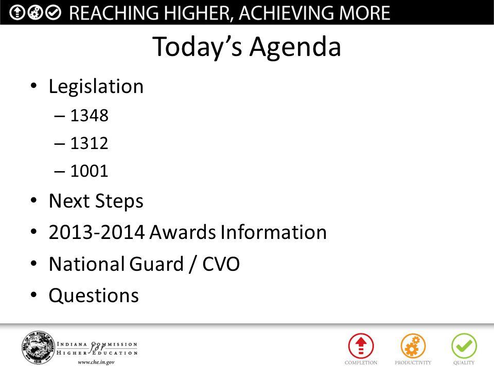 Today's Agenda Legislation Next Steps 2013-2014 Awards Information