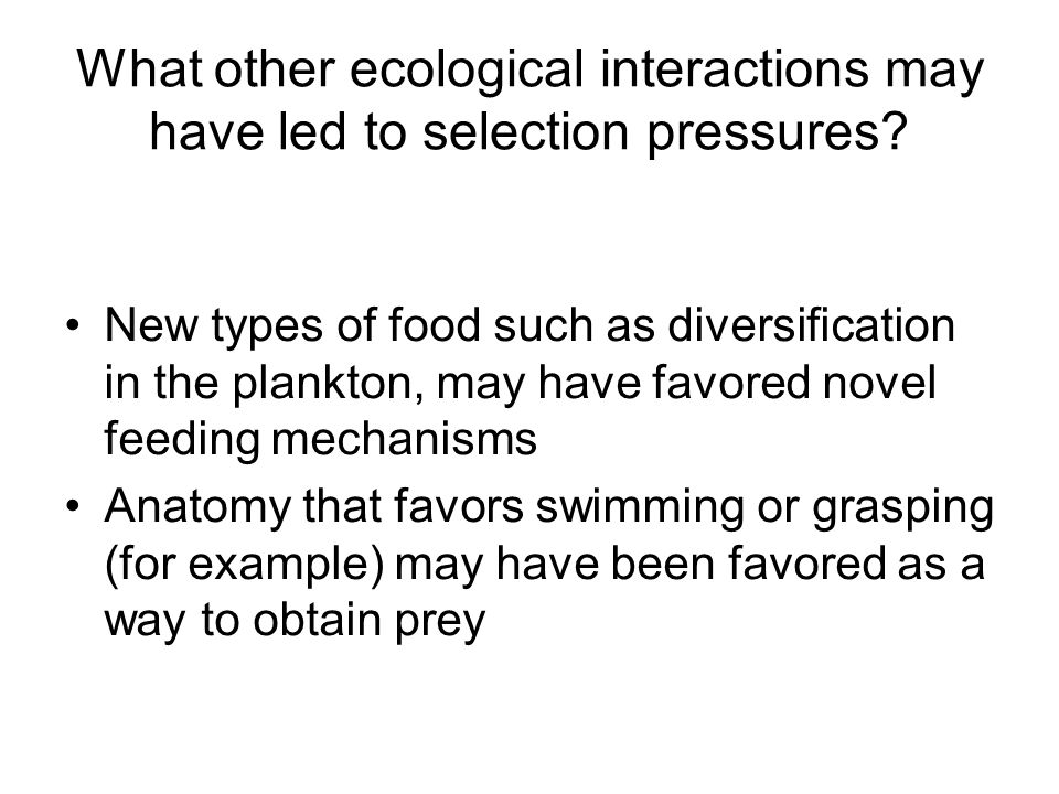 What other ecological interactions may have led to selection pressures