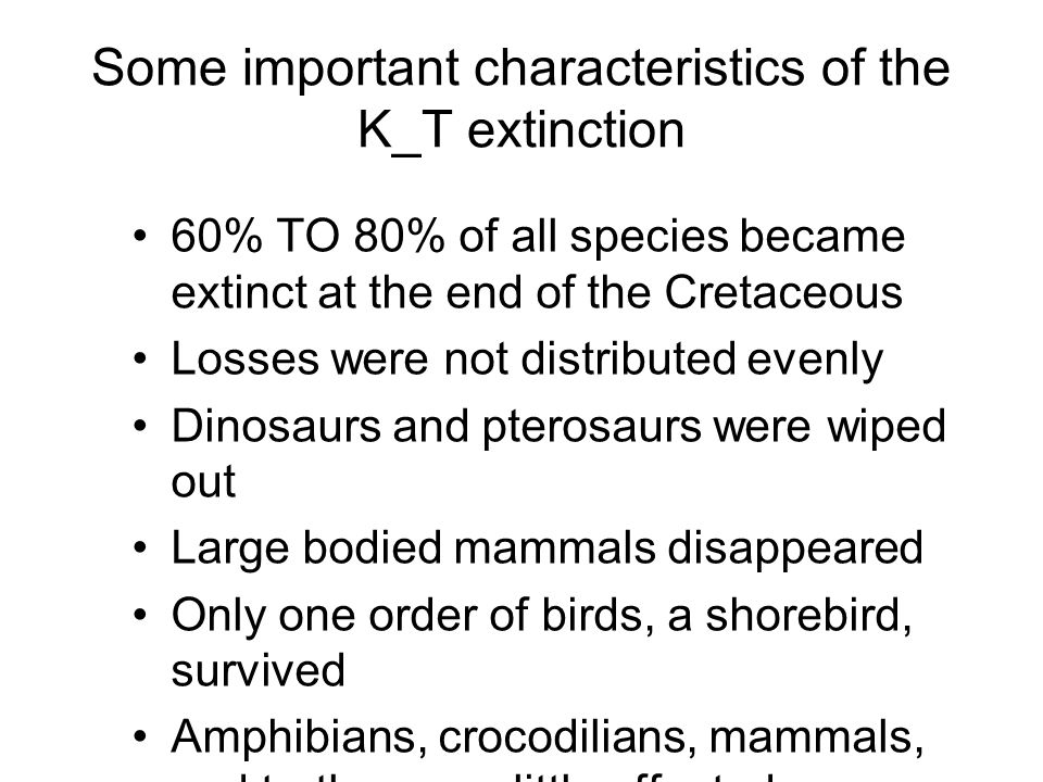 Some important characteristics of the K_T extinction