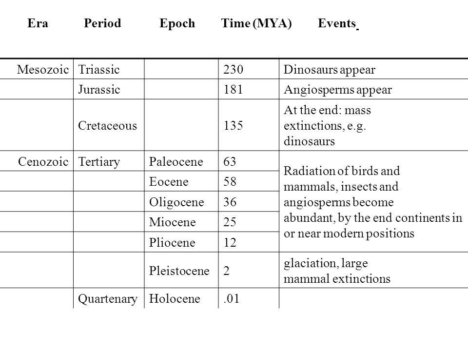 Era Period Epoch Time (MYA) Events