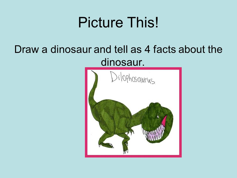 Draw a dinosaur and tell as 4 facts about the dinosaur.