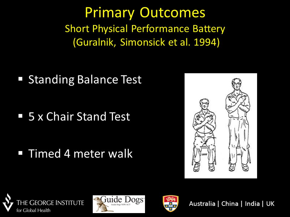 Primary Outcomes Short Physical Performance Battery (Guralnik, Simonsick et al. 1994)