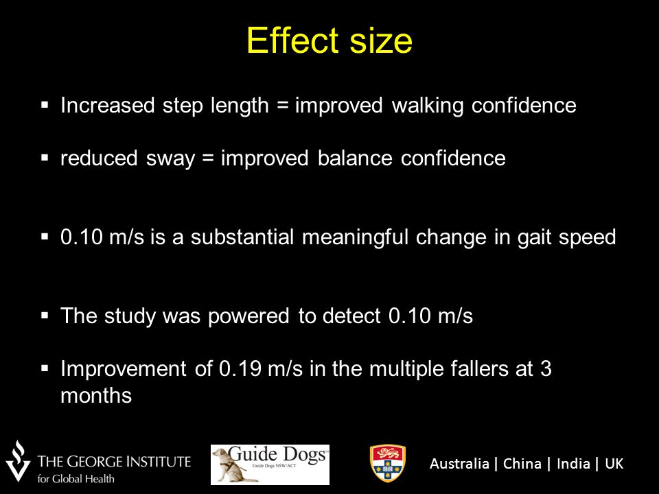 Effect size Increased step length = improved walking confidence