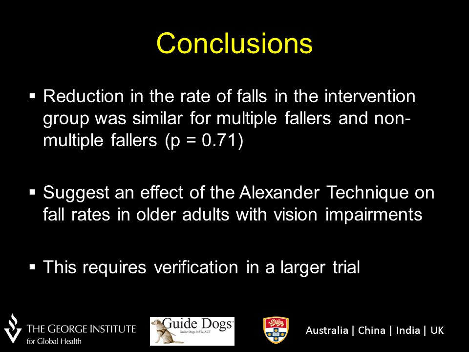 Conclusions Reduction in the rate of falls in the intervention group was similar for multiple fallers and non-multiple fallers (p = 0.71)