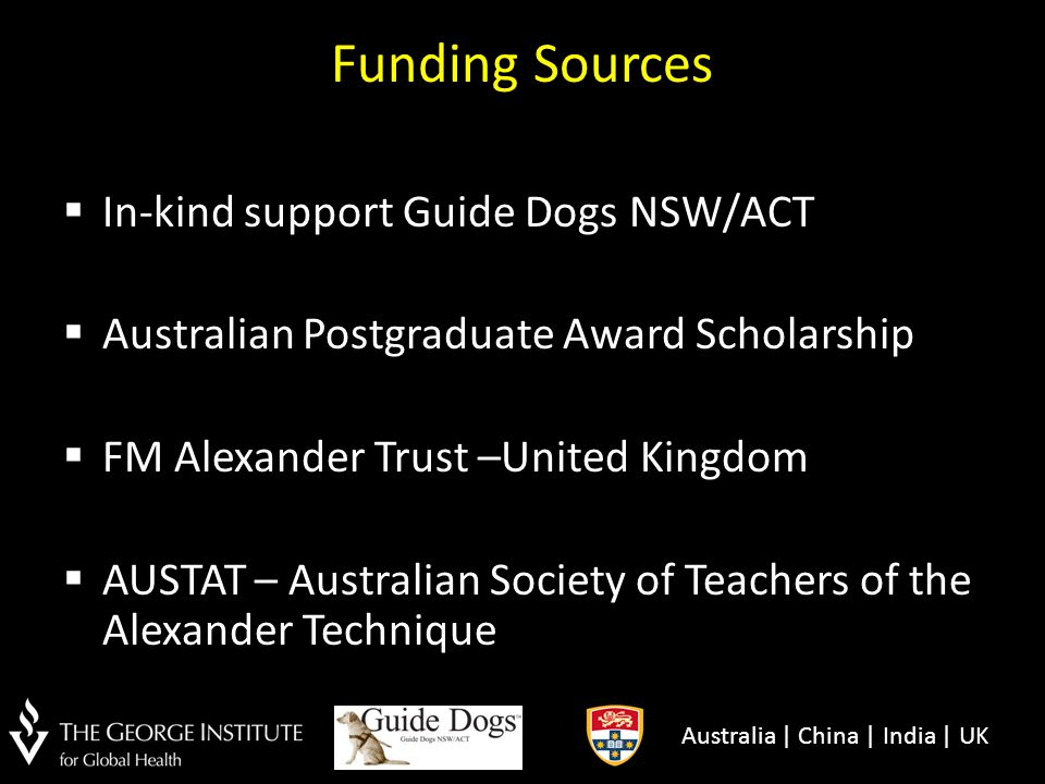 Funding Sources In-kind support Guide Dogs NSW/ACT