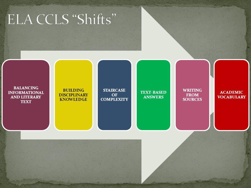 ELA CCLS Shifts BALANCING INFORMATIONAL AND LITERARY TEXT