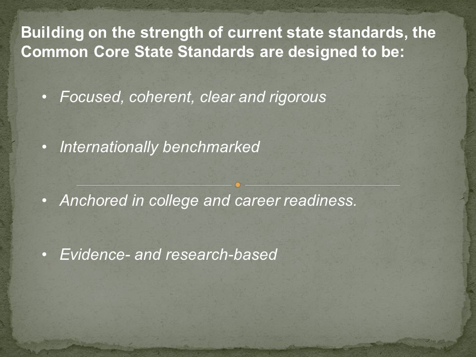 Building on the strength of current state standards, the Common Core State Standards are designed to be: