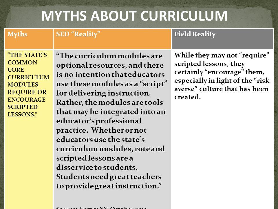 MYTHS ABOUT CURRICULUM