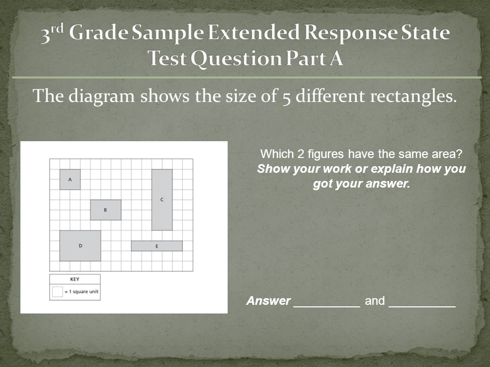 3rd Grade Sample Extended Response State Test Question Part A