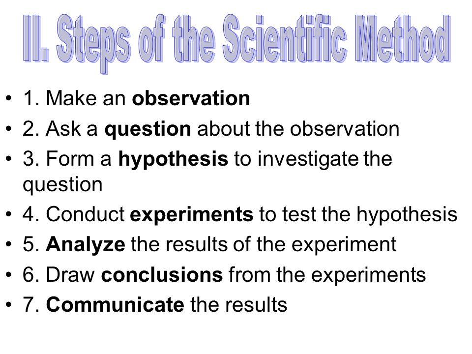 II. Steps of the Scientific Method