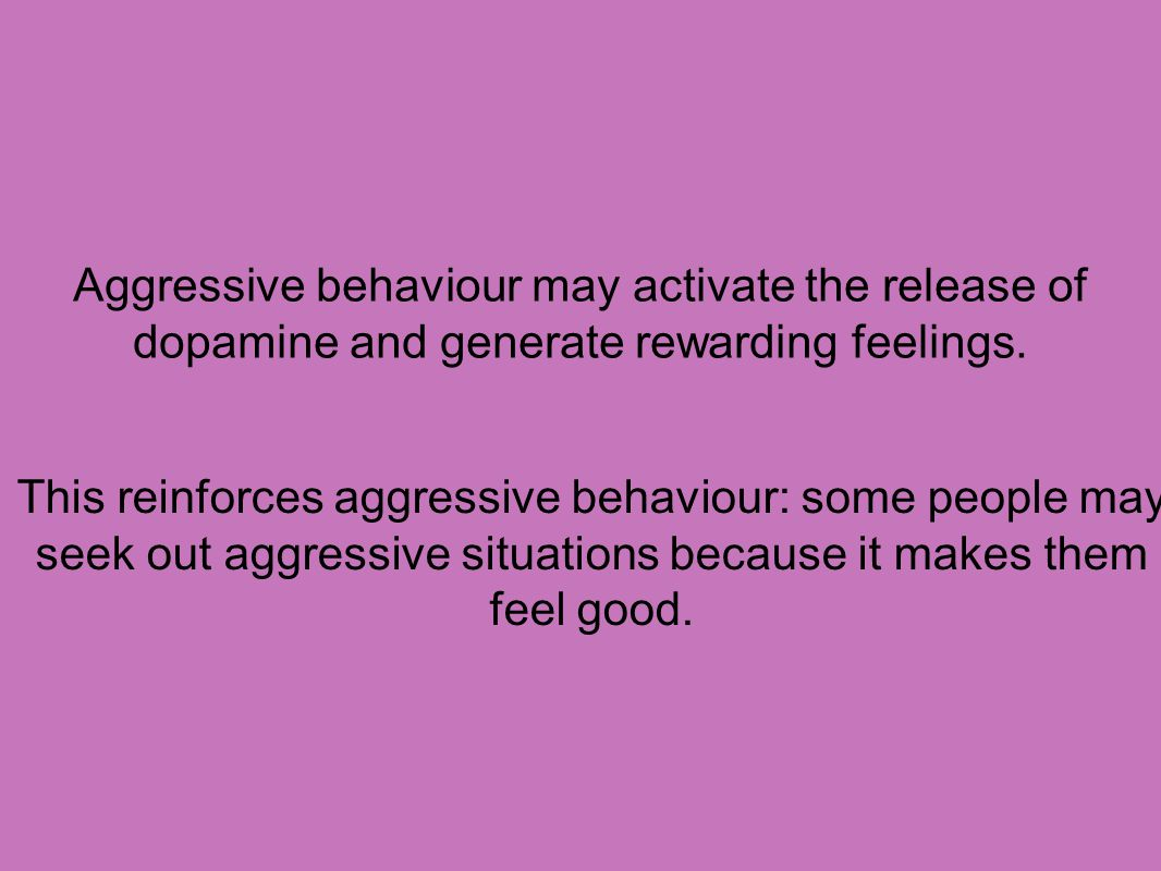 Aggressive behaviour may activate the release of dopamine and generate rewarding feelings.