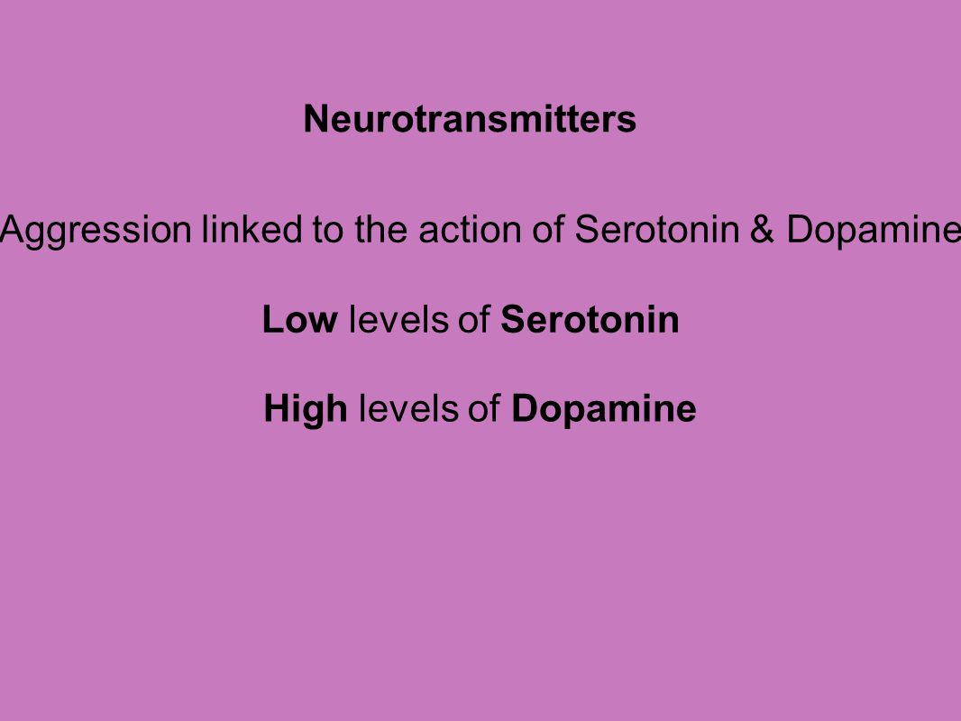 Aggression linked to the action of Serotonin & Dopamine
