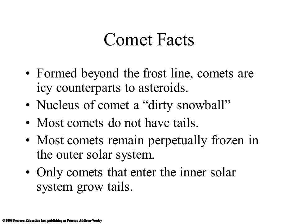 Comet Facts Formed beyond the frost line, comets are icy counterparts to asteroids. Nucleus of comet a dirty snowball