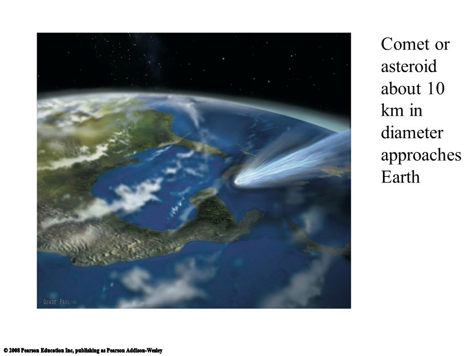 Comet or asteroid about 10 km in diameter approaches Earth
