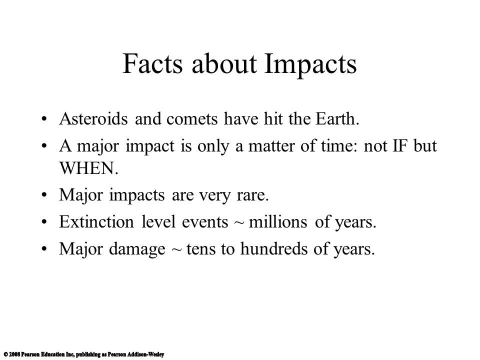 Facts about Impacts Asteroids and comets have hit the Earth.