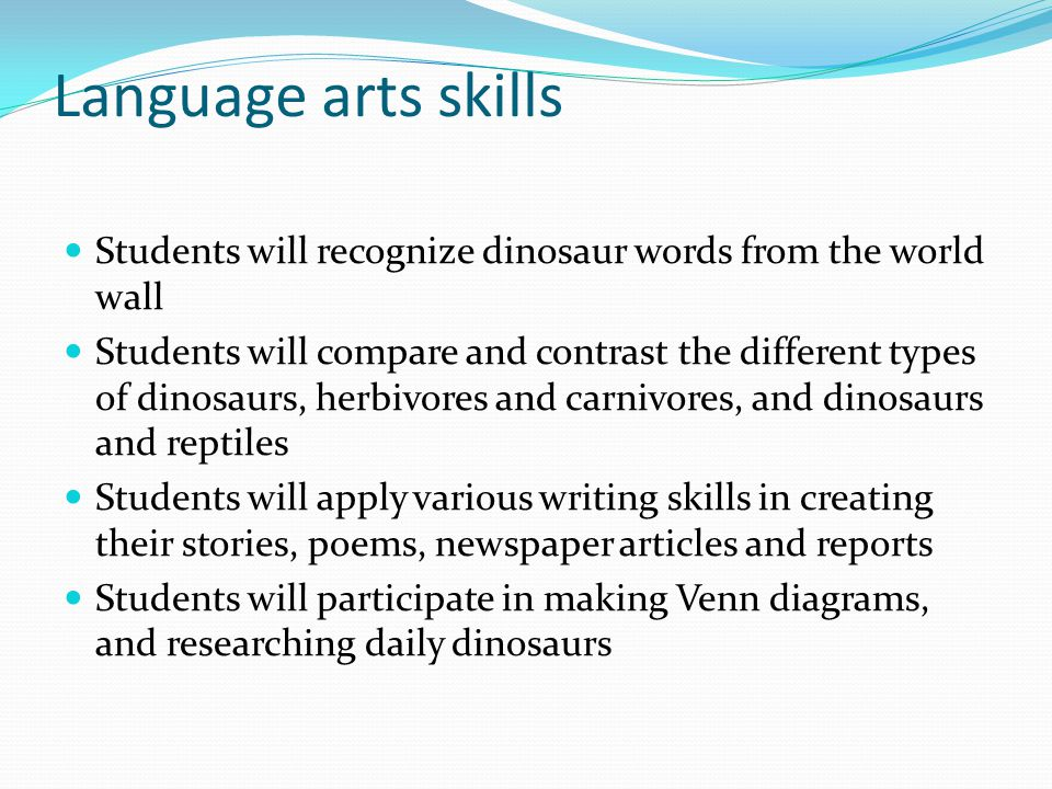 Language arts skills Students will recognize dinosaur words from the world wall.