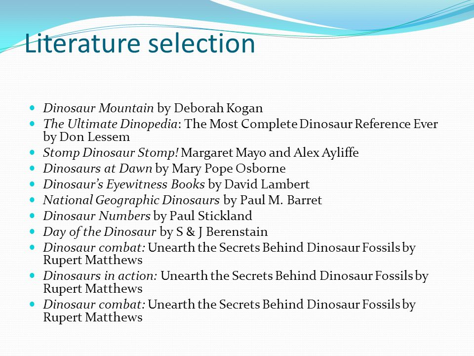 Literature selection Dinosaur Mountain by Deborah Kogan