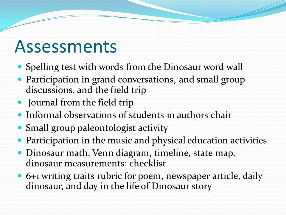 Assessments Spelling test with words from the Dinosaur word wall