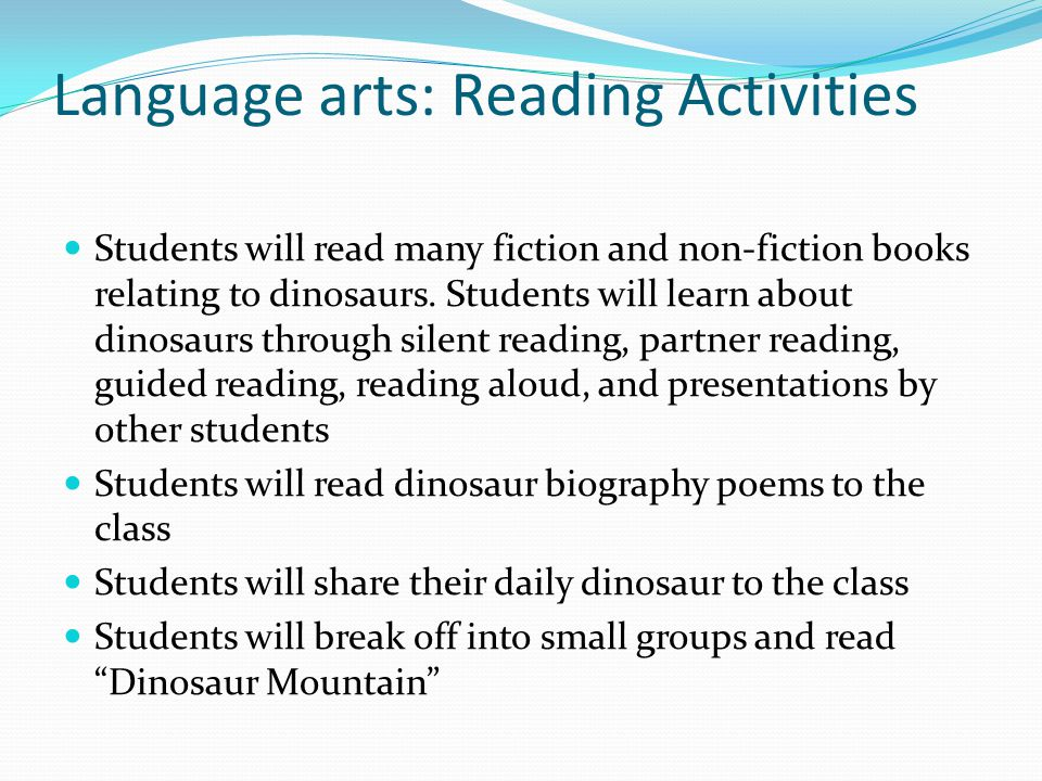 Language arts: Reading Activities