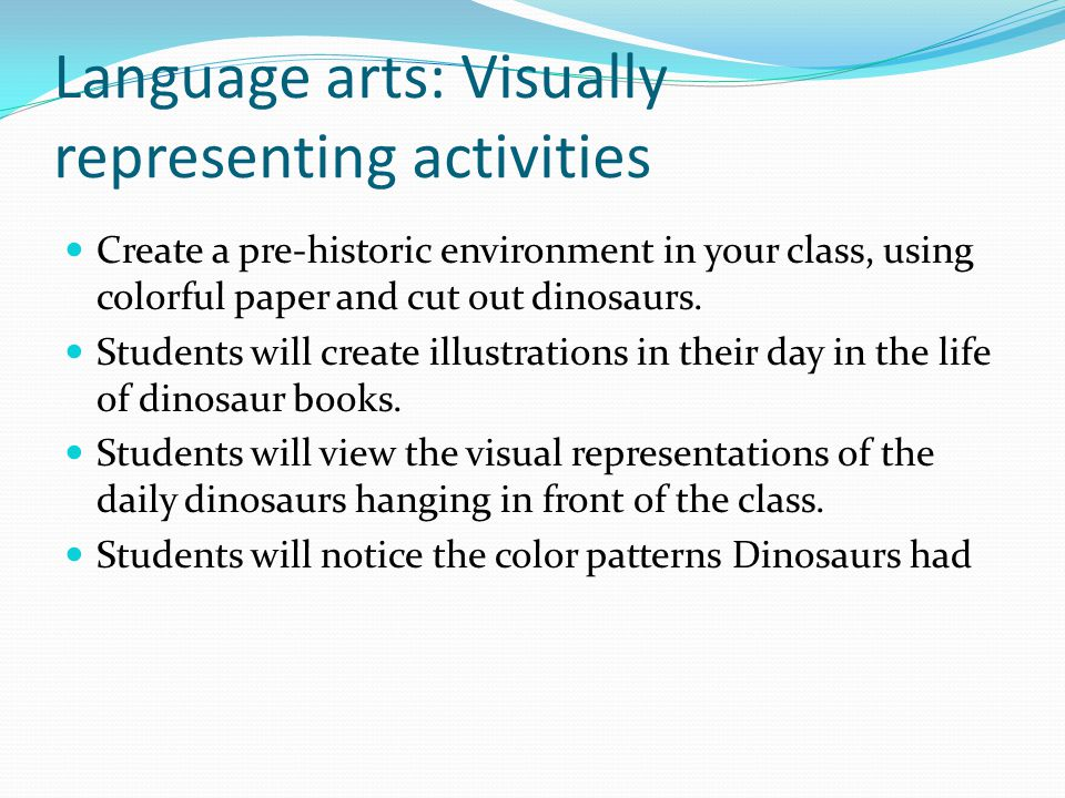 Language arts: Visually representing activities