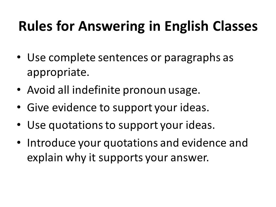 Rules for Answering in English Classes