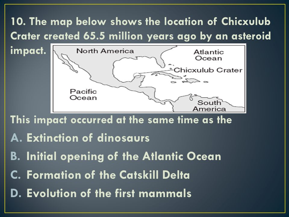 Extinction of dinosaurs Initial opening of the Atlantic Ocean