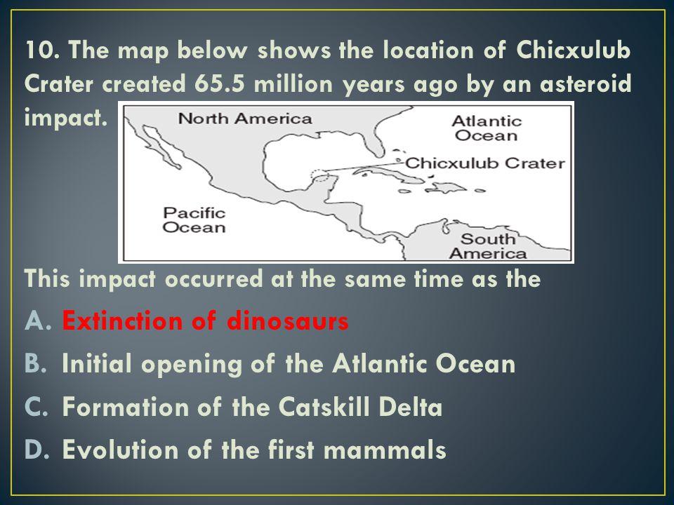 Extinction of dinosaurs Initial opening of the Atlantic Ocean