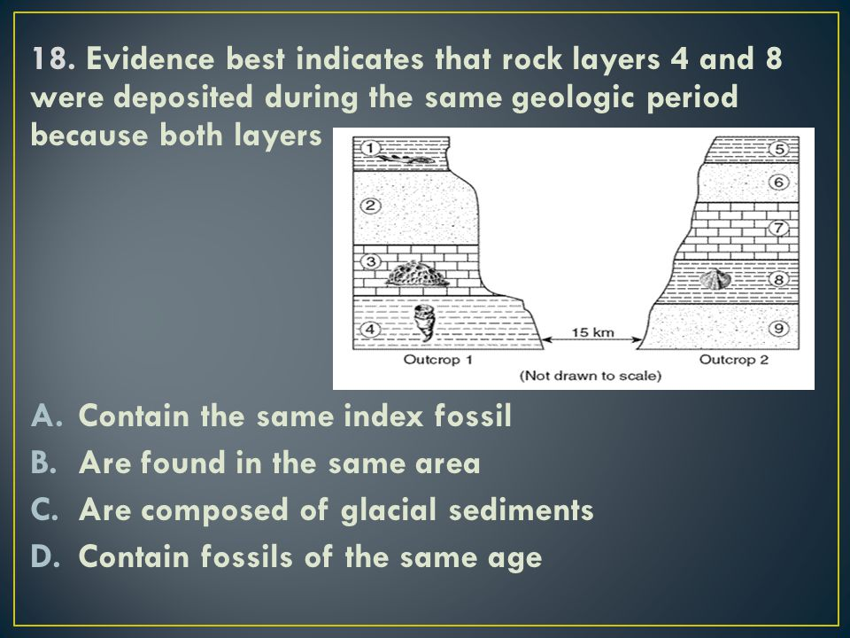 18. Evidence best indicates that rock layers 4 and 8 were deposited during the same geologic period because both layers