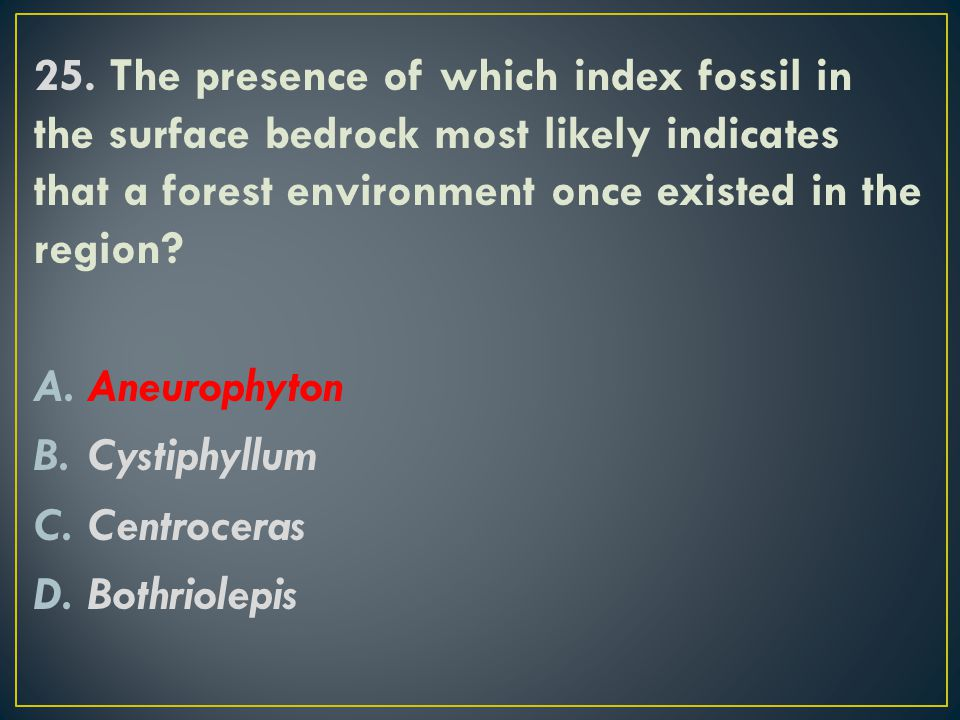 25. The presence of which index fossil in the surface bedrock most likely indicates that a forest environment once existed in the region