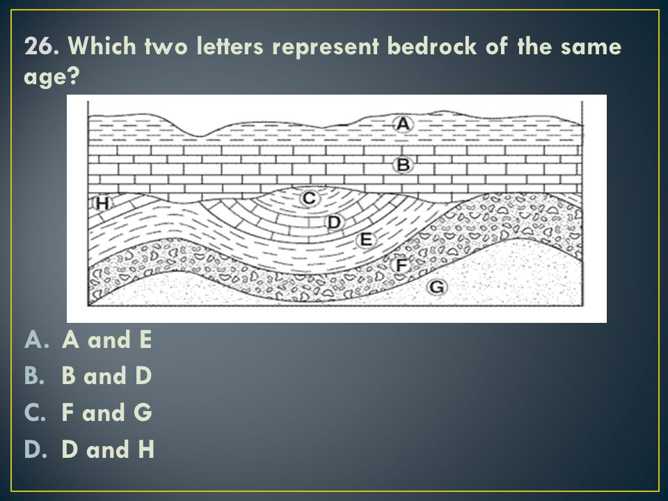 26. Which two letters represent bedrock of the same age