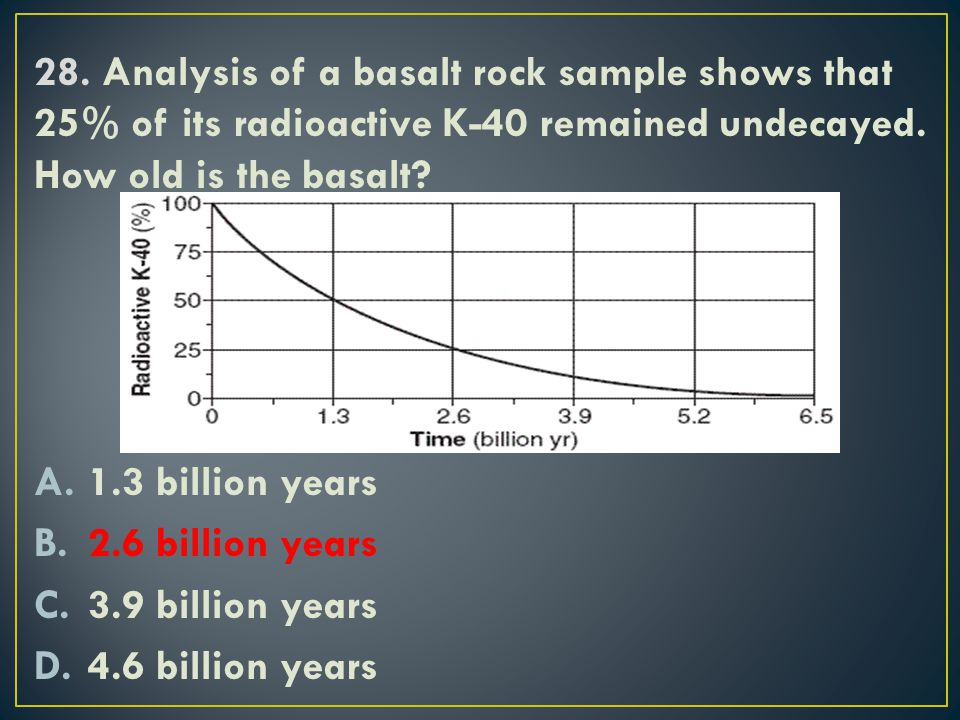 28. Analysis of a basalt rock sample shows that 25% of its radioactive K-40 remained undecayed. How old is the basalt
