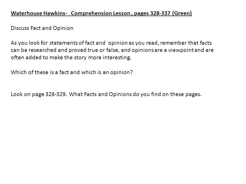 Waterhouse Hawkins- Comprehension Lesson , pages 328-337 (Green)