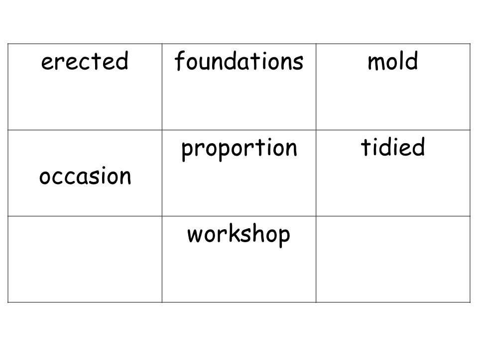 erected foundations mold occasion proportion tidied workshop
