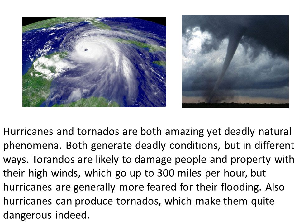 Hurricanes and tornados are both amazing yet deadly natural phenomena