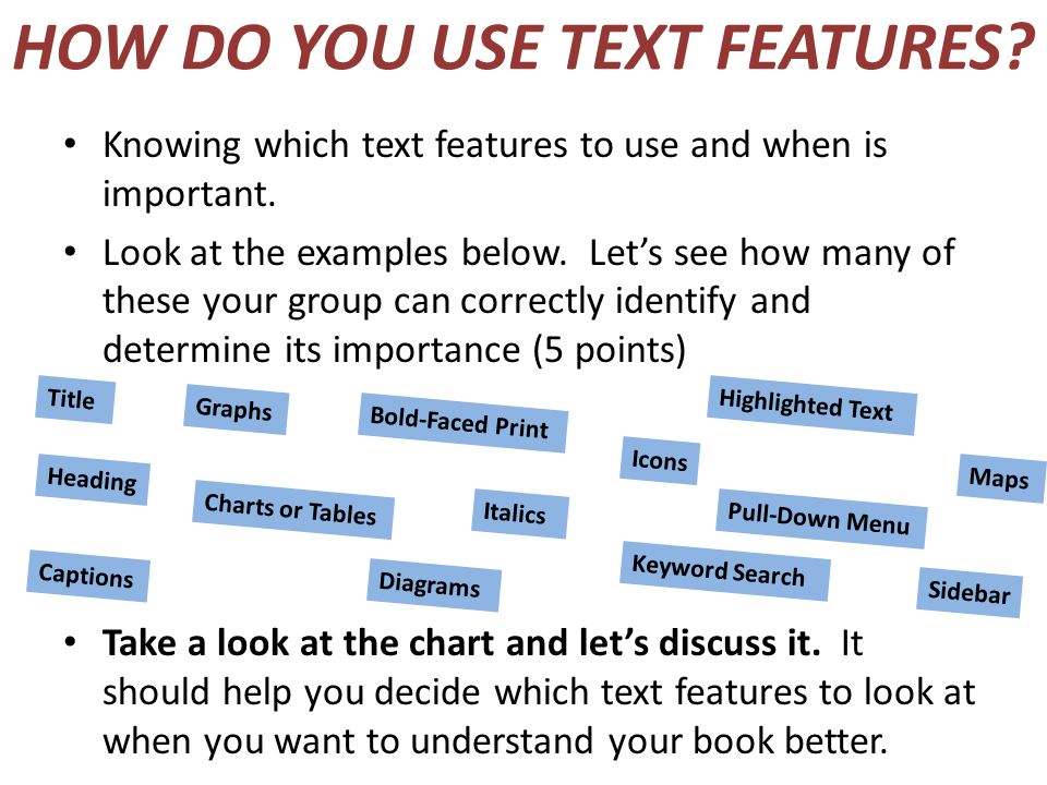HOW DO YOU USE TEXT FEATURES