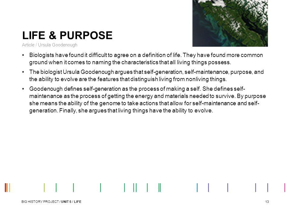 LIFE & PURPOSE Article / Ursula Goodenough.