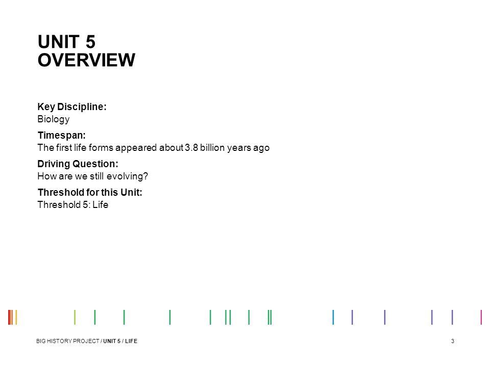 UNIT 5 OVERVIEW Key Discipline: Biology Timespan: