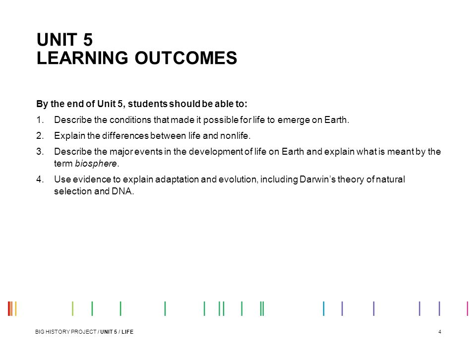 UNIT 5 LEARNING OUTCOMES