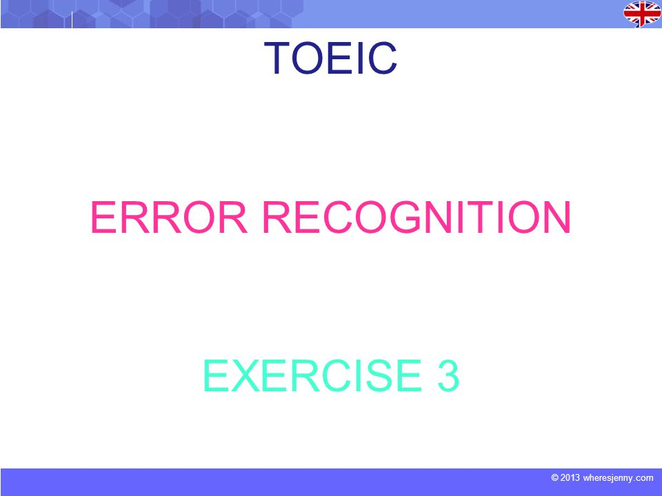 TOEIC ERROR RECOGNITION EXERCISE 3