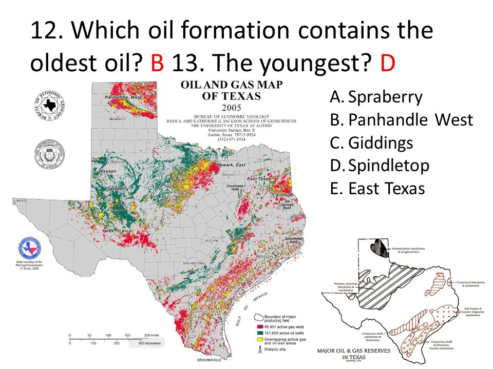 12. Which oil formation contains the oldest oil B 13. The youngest D