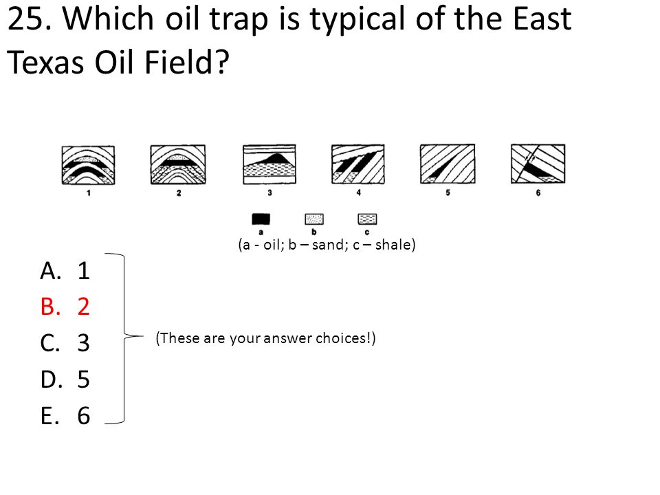 25. Which oil trap is typical of the East Texas Oil Field