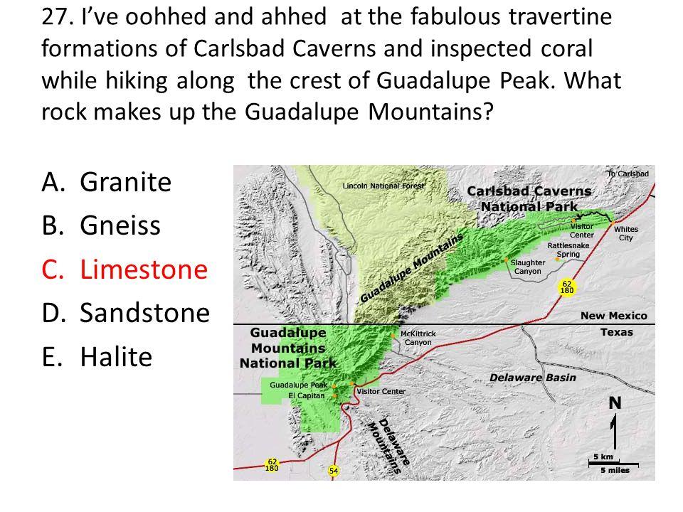 Granite Gneiss Limestone Sandstone Halite