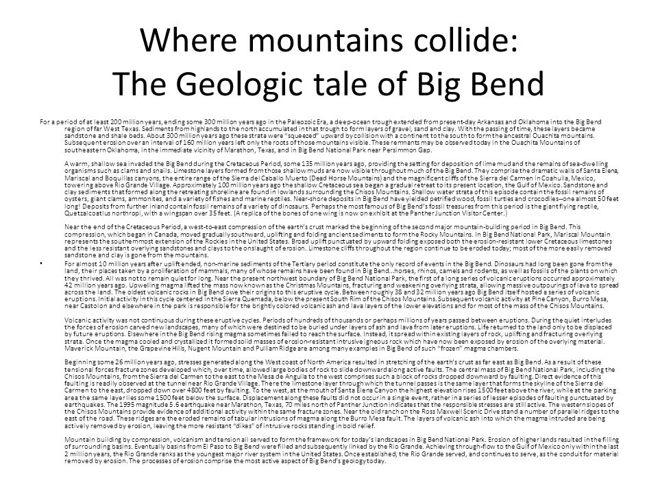 Where mountains collide: The Geologic tale of Big Bend