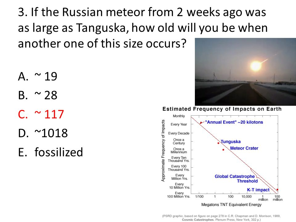 3. If the Russian meteor from 2 weeks ago was as large as Tanguska, how old will you be when another one of this size occurs