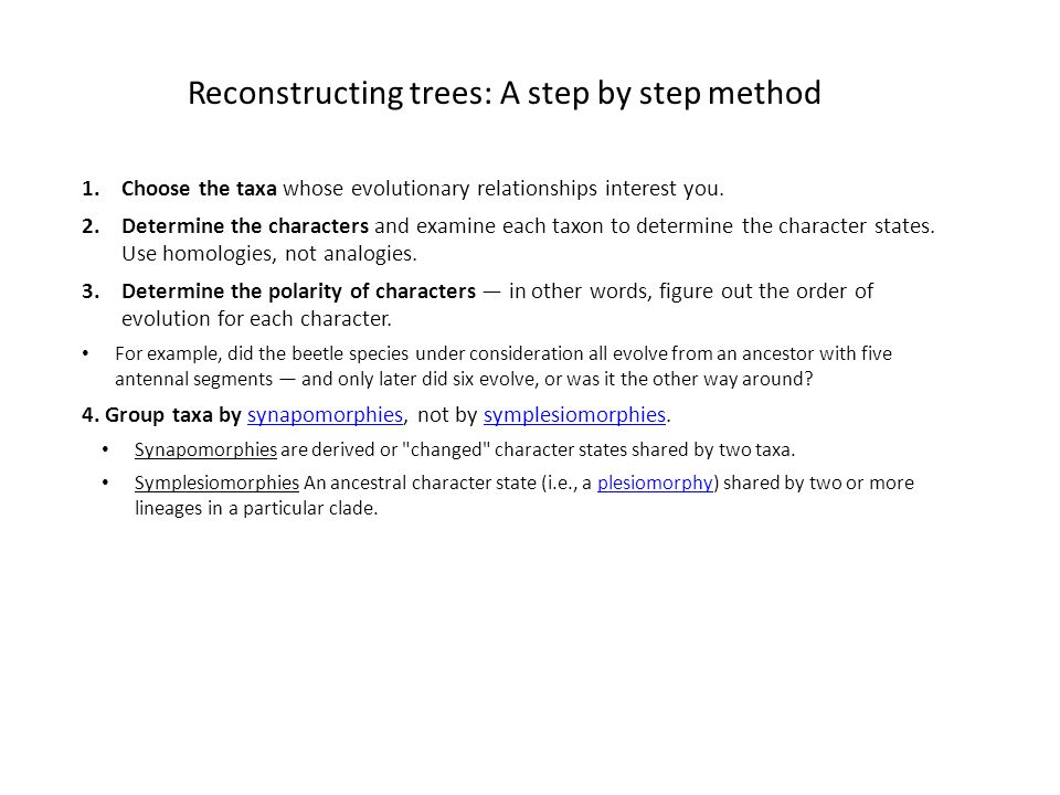 Reconstructing trees: A step by step method