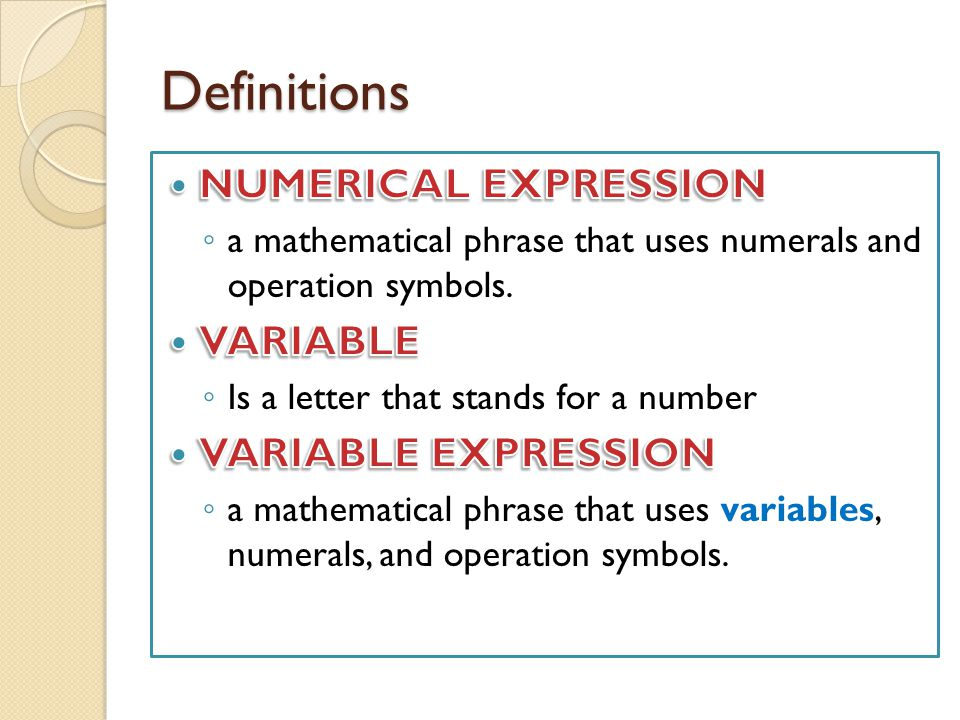 Definitions NUMERICAL EXPRESSION VARIABLE VARIABLE EXPRESSION